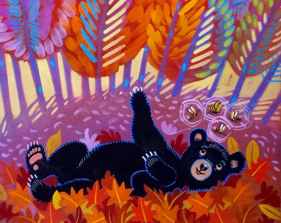 Baby Bear Counts 4 Bees- a colorful, whimsical autumn scene with an adorable bear cub.