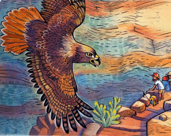 """A Grand Canyon Scene of Bright Angel Trail: """"Hello Mister Red Tail Hawk"""" is from the book In The Canyon."""