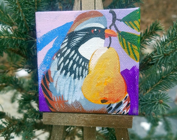Partridge and a pear. For the Bird Lover on your list, a one-of-a-kind painting of this magnificent bird by Ashley Wolff