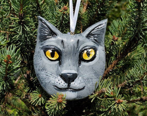 British Short Hair Cat Ornament- for the cat lover: a lightweight, handmade made and painted ornament.