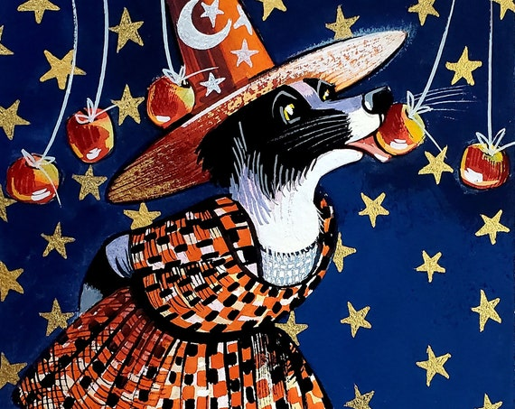 Original gouache painting of a Charming Border Collie in Halloween finery, catching a hanging apple while a cute black kitten cheers her on