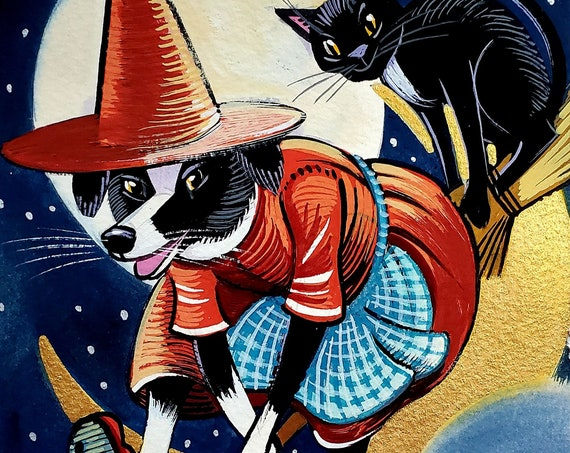 Original gouache painting of a Border Collie witch, speeding along on her broom, cupped in a golden crescent