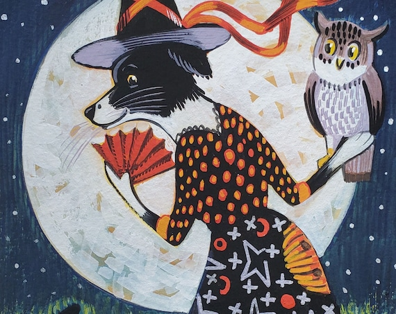 Original gouache painting of a Charming Art Deco Border Collie Witch with her cat and owl