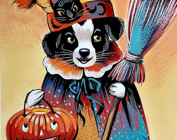 Adorable gouache painting of a Border Collie puppy in Halloween finery, holding a jack-o-lantern, and an old fashioned broom.