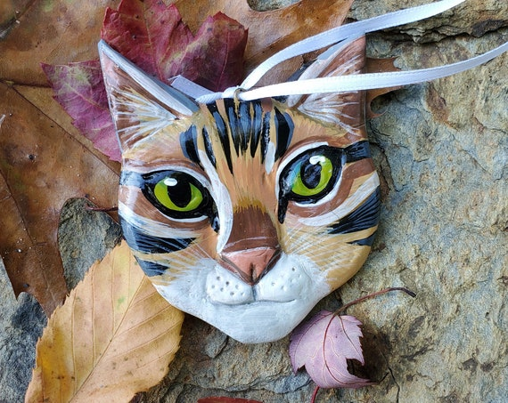 Tabby Cat Ornament- for the cat lover: a lightweight, handmade made and painted ornament.