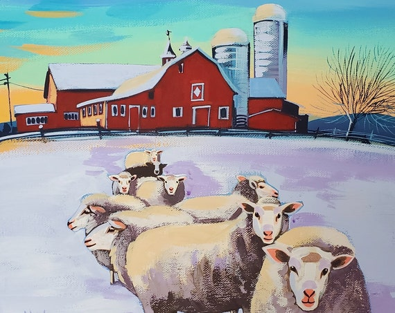 Some very curious sheep and a majestic red barn on a 12 x 12 canvas