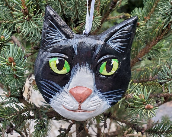 Tuxedo Cat Ornament- for the cat lover: a lightweight, handmade made and painted ornament.