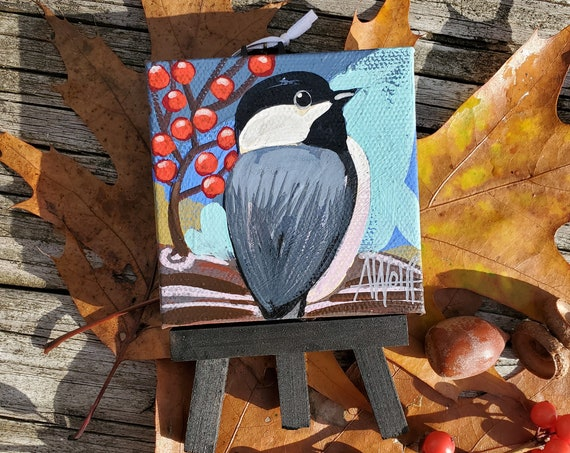 Chickadee Ornament. For the Bird Lover on your list, a one-of-a-kind painting of this magnificent bird by Ashley Wolff