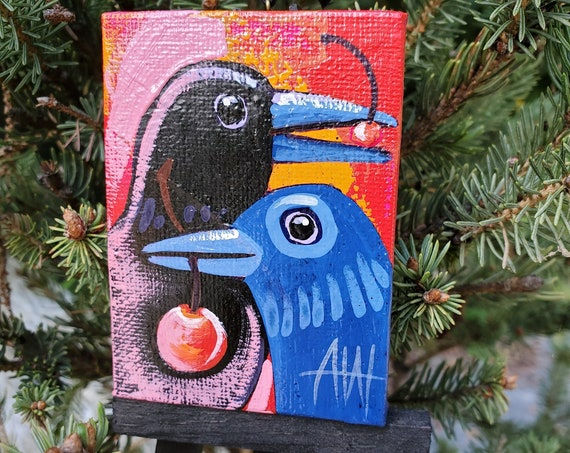 Raven Couple Ornament. For the Bird Lover on your list, a one-of-a-kind painting of this magnificent bird by Ashley Wolff