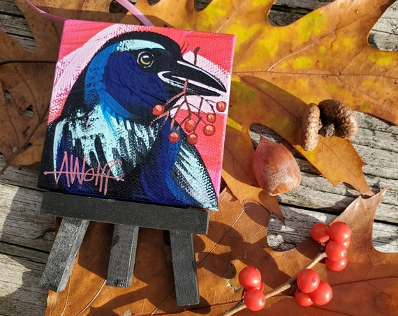 Raven ornament. For the Bird Lover on your list, a one-of-a-kind painting of this magnificent bird by Ashley Wolff