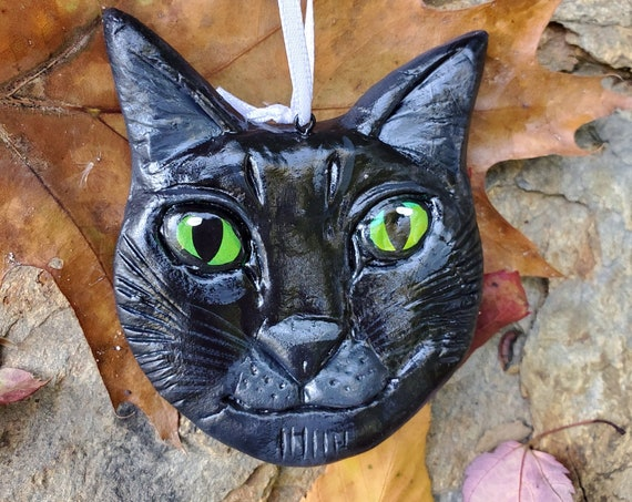 Black Cat Ornament- for the cat lover: a lightweight, handmade made and painted ornament.