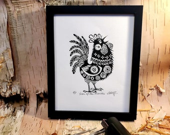 You need this original linoleum block print to celebrate your birth year! you beautiful Rooster Gung Hay Fat Choy Happy Chinese New Year