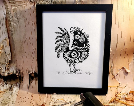 Gung Hay Fat Choy! Happy Chinese New Year, you beautiful Rooster. You need this original linoleum block print to celebrate your birth year!