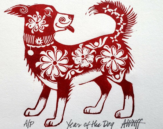 Gung Hay Fat Choy! Happy Chinese New Year, you beautiful Dog. You need this original linoleum block print to celebrate your birth year!