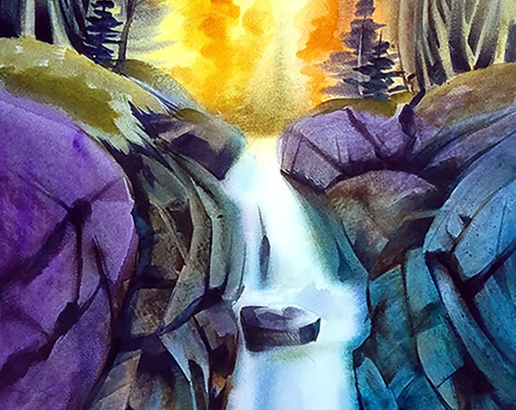 Texas Falls Watercolor