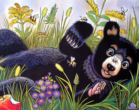 Baby Bear Counts Seven bees in an autumn apple orchard