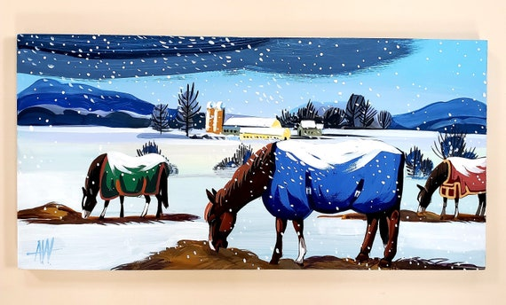 Horses in the Snow-original gouache painting on wood panel