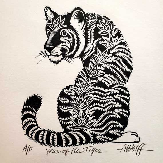 Gung Hay Fat Choy! Happy Chinese New Year, you beautiful Tiger! You need this original linoleum block print to celebrate your birth year!
