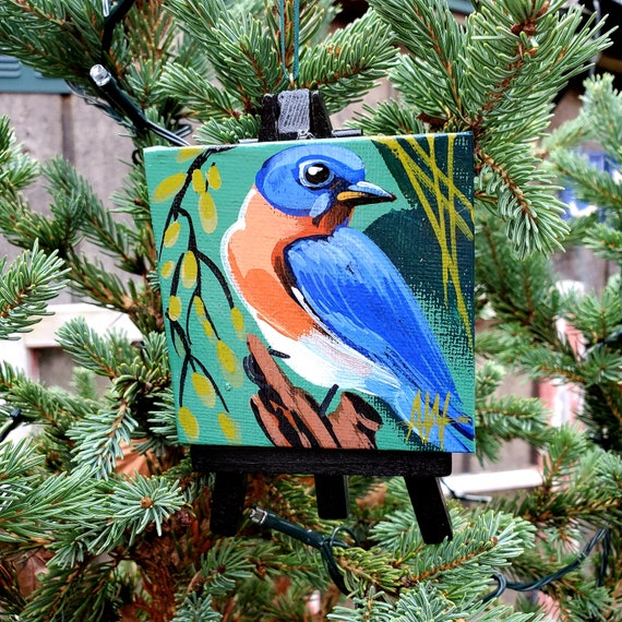 Eastern Bluebird, New York state bird. For the Bird Lover on your list, a one-of-a-kind painting of this magnificent bird by Ashley Wolff