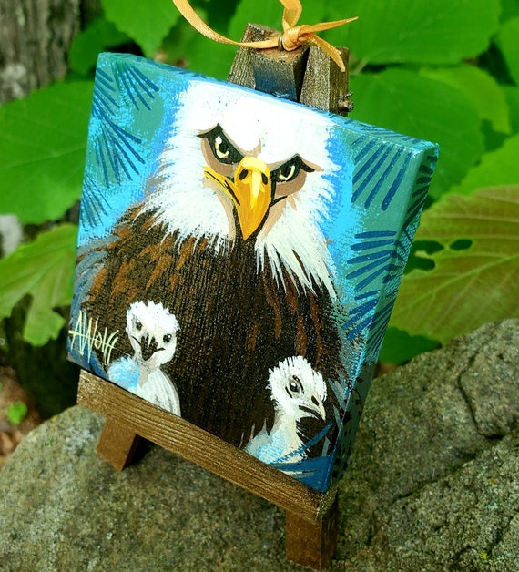 Bald Eagle and two eaglets, our national bird. For the Bird Lover on your list, one-of-a-kind painting of this majestic bird by Ashley Wolff