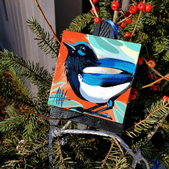 A Black Billed Magpie. For the Bird Lover on your list, a one-of-a-kind painting of this magnificent bird by Ashley Wolff