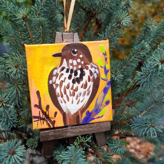 Hermit Thrush, Vermont State Bird. For the Bird Lover on your list, a one-of-a-kind painting of this magnificent bird by Ashley Wolff