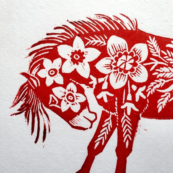 Gung Hay Fat Choy! Happy Chinese New Year, you beautiful Horse! You need this original linoleum block print to celebrate your birth year!