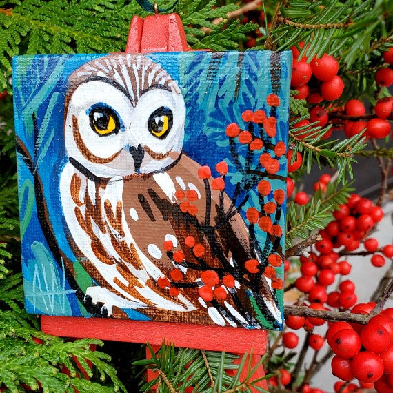 Northern Saw-Whet Owl Ornament. For the Bird Lover on your list, a one-of-a-kind painting of this magnificent bird by Ashley Wolff