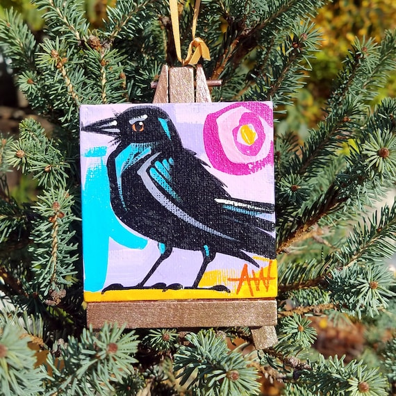 Common Crow . For the Bird Lover on your list, a one-of-a-kind painting of this magnificent bird by Ashley Wolff