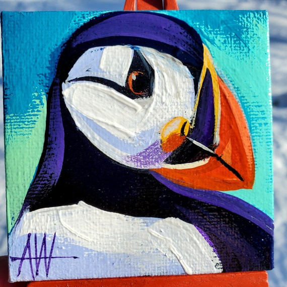 Atlantic Puffin Mini Painting. For the Bird Lover on your list, a one-of-a-kind painting of this magnificent bird by Ashley Wolff