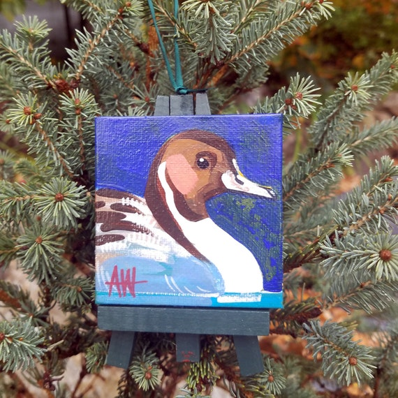 Pintail duck Ornament. For the Bird Lover on your list, a one-of-a-kind painting of this magnificent bird by Ashley Wolff