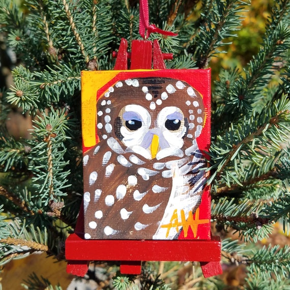 Spotted Owl Ornament. For the Bird Lover on your list, a one-of-a-kind painting of this magnificent bird by Ashley Wolff