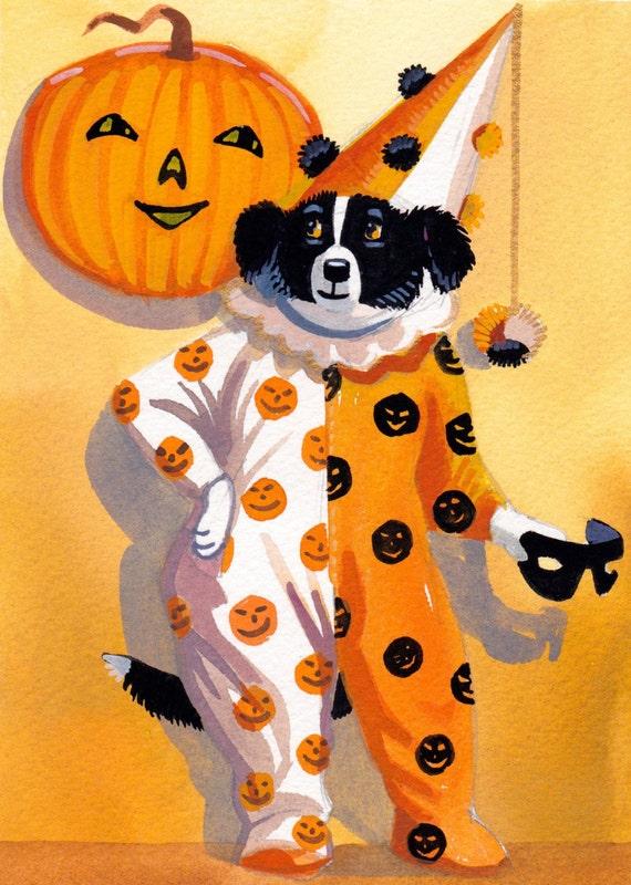 Cute, harlequin Halloween Border Collie Puppy
