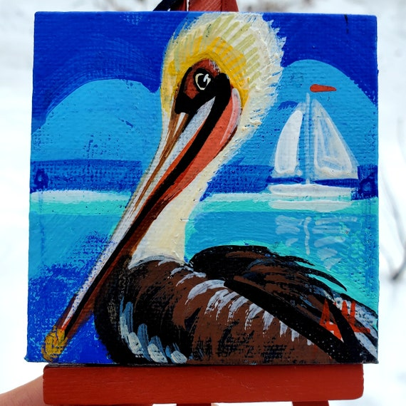 Brown Pelican. For the Bird Lover on your list, a one-of-a-kind painting of this magnificent bird by Ashley Wolff