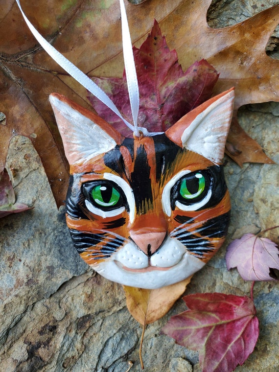 Calico Cat Ornament- for the cat lover: a lightweight, handmade made and painted ornament.