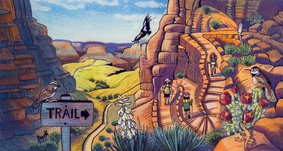 "A Grand Canyon scene of Bright Angel Trail: ""Condor shows the way to go"" from the book In The Canyon"