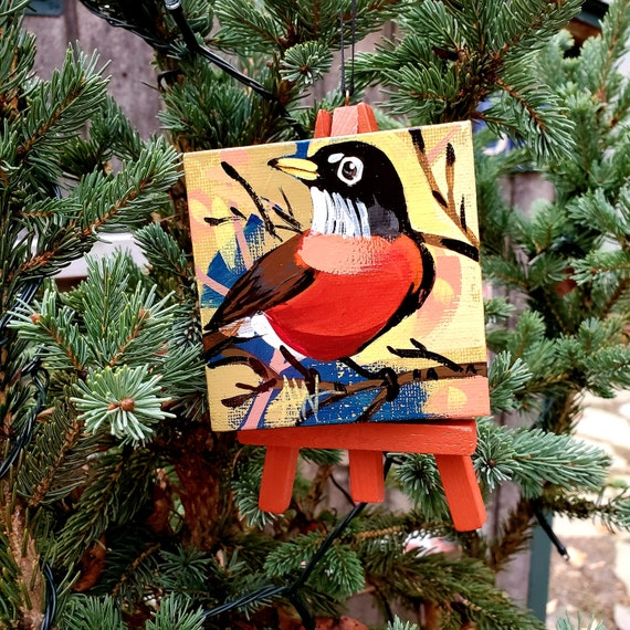 American Robin, Connecticut state bird. For the Bird Lover on your list, a one-of-a-kind painting of this magnificent bird by Ashley Wolff