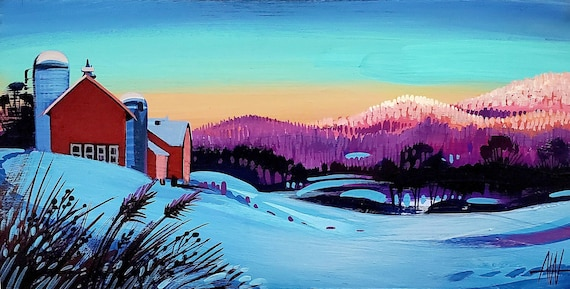 Alpenglow on Vermont's Green Mountains. A high quality giclee of an original gouache painting