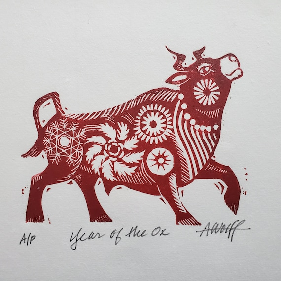 Gung Hay Fat Choy! Happy Chinese New Year, you beautiful Ox. You need this original linoleum block print to celebrate your birth year!