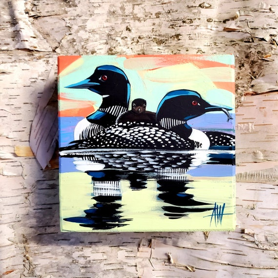 Loon Family of three-original gouache painting on a wood panel