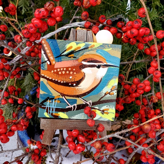 Carolina Wren Ornament. For the Bird Lover on your list, a one-of-a-kind painting of this magnificent bird by Ashley Wolff
