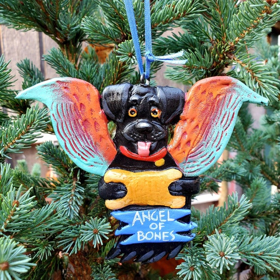 Black Labrador Angel of Bones. A perfect gift for the dog lover: a lightweight, handmade and painted ornament.