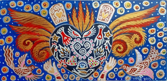 An Artist's Milagro Heart with Wings