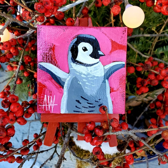 Emperor Penguin Chick Mini Painting. For the Bird Lover on your list, a one-of-a-kind painting of this magnificent bird by Ashley Wolff