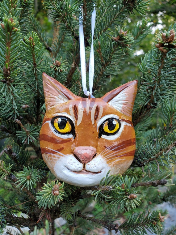 Marmalade Cat Ornament- for the cat lover: a lightweight, handmade made and painted ornament.