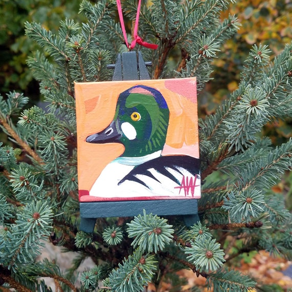 Golden Eye Duck. For the Bird Lover on your list, a one-of-a-kind painting of this magnificent bird by Ashley Wolff