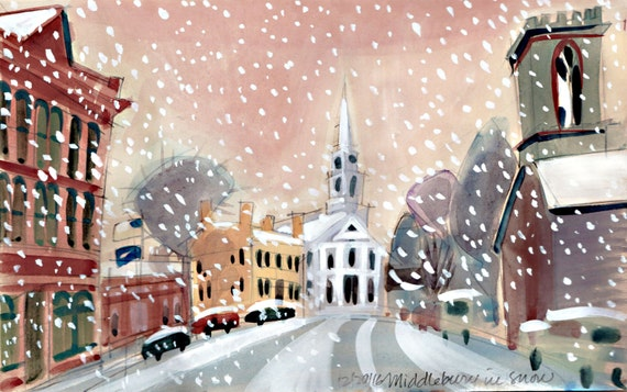 Snowy Day in Downtown Middlebury, Vermont. An early snowstorm blankets a quaint New England town.