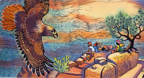 "A Grand Canyon Scene of Bright Angel Trail: ""Hello Mister Red Tail Hawk"" is from the book In The Canyon."