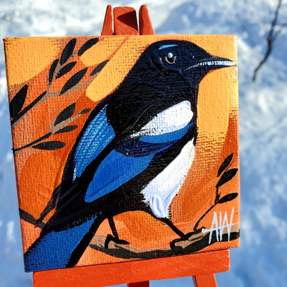 Black-Billed Magpie Mini Painting. For the Bird Lover on your list, a one-of-a-kind painting of this magnificent bird by Ashley Wolff