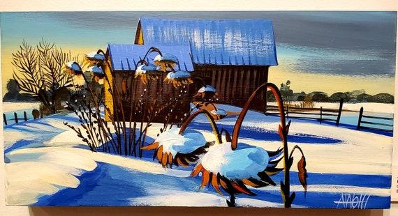 Sunflowers-original gouache painting on wood panel